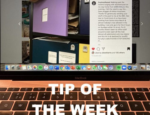 Tip of the Week:  Don't send hard copies of music to radio DJ's.